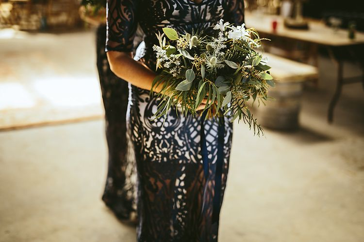 Bridesmaids In Navy With Pretty Bouquets