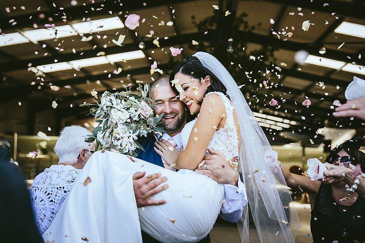 Bride & Groom Just Married Confetti Shot