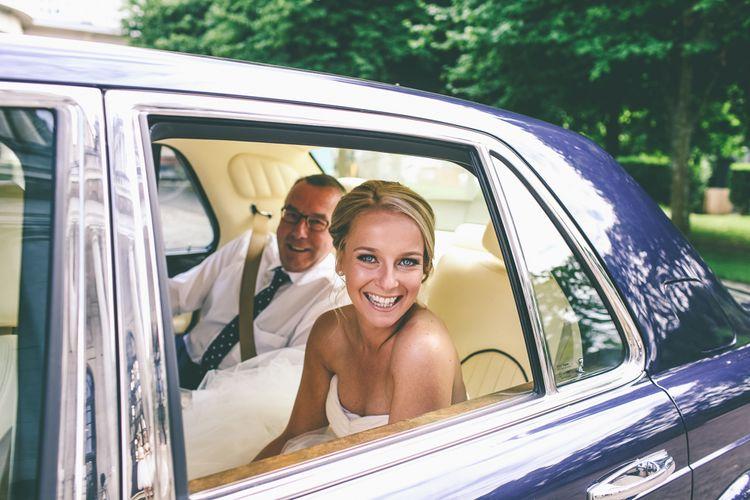 Beautiful Bride Arriving At Wedding Ceremony