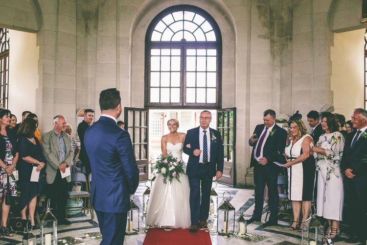 Bride in Annasul Y Wedding Dress Arriving At Wedding Ceremony