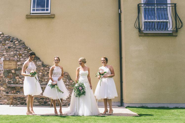 Bride in Annasul Y And Bridesmaids in White ASOS Dresses