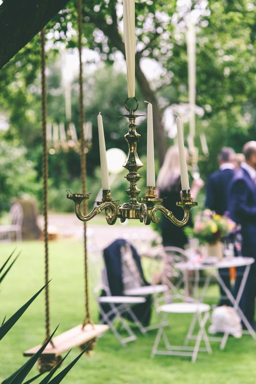 Chandeliers In Trees For Wedding Decor