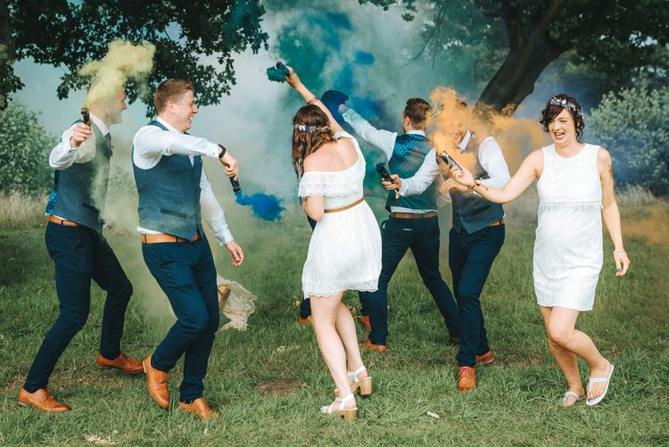 Wedding Party with Flares