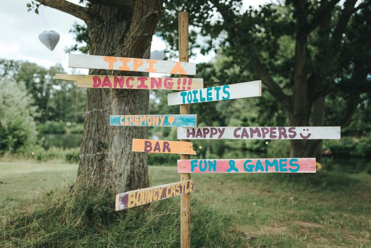 Colourful Rustic Wedding Sign