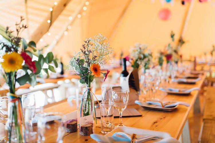 Colourful Rustic Tipi Reception