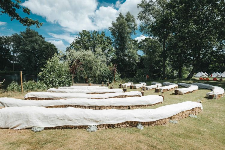 Outdoor Ceremony | Hay Bale Seating