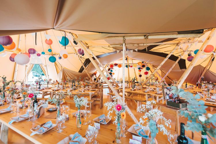 Colourful Rustic Tipi Reception | Hanging Paper Lanterns