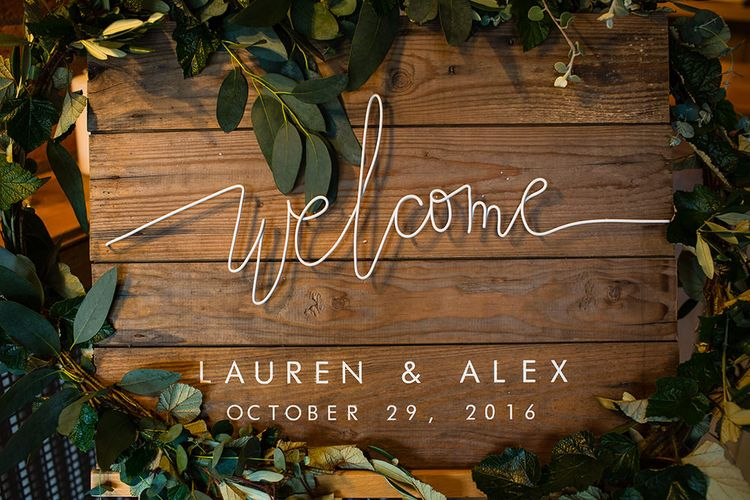 Welcome Sign | Autumn Rustic Wedding at Curradine Barns | Jo Hastings Photography