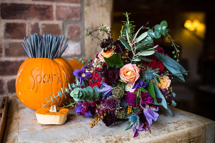 Bright Bridal Bouquet | Autumn Rustic Wedding at Curradine Barns | Jo Hastings Photography