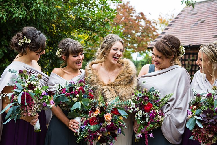 Bride in Sottero & Midgely Emsley Gown | Bridesmaids in Jewel Coloured Mori Lee Dresses | Autumn Rustic Wedding at Curradine Barns | Jo Hastings Photography