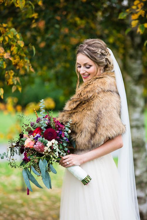 Bride in Sottero & Midgely Emsley Gown | Autumn Rustic Wedding at Curradine Barns | Jo Hastings Photography