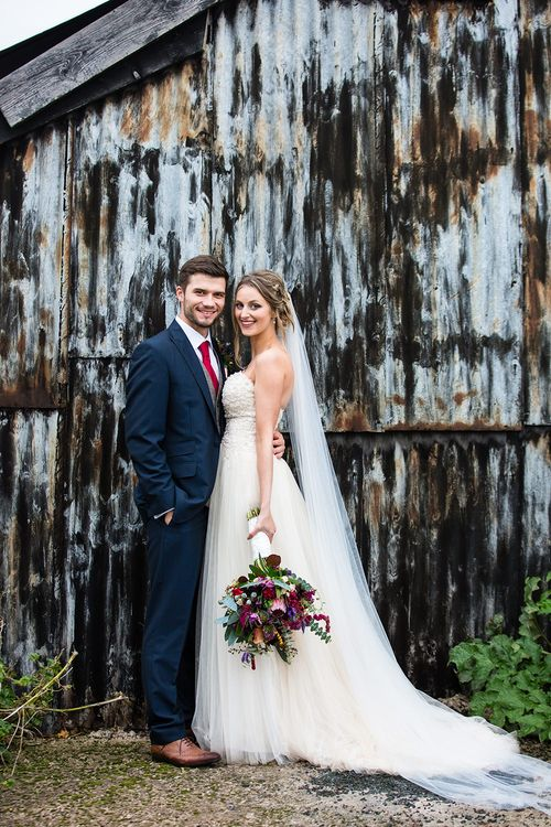 Bride in Sottero & Midgely Emsley Gown | Groom in Peter Posh Suit | Autumn Rustic Wedding at Curradine Barns | Jo Hastings Photography