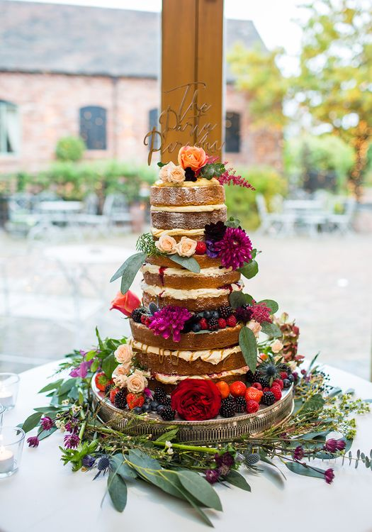 Naked Wedding Cake | Autumn Rustic Wedding at Curradine Barns | Jo Hastings Photography