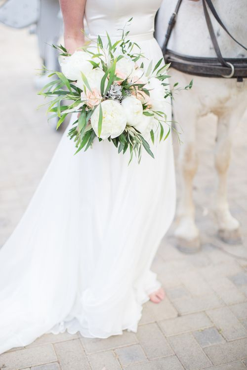 White & Greenery Wedding Bouquet   Intimate Outdoor Destination Wedding at Kinsterna Hotel & Spa in Greece   Cecelina Photography