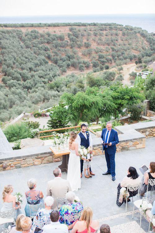 Wedding Cermeony   Intimate Outdoor Destination Wedding at Kinsterna Hotel & Spa in Greece   Cecelina Photography