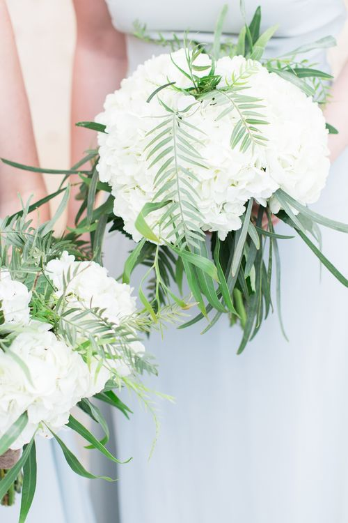 White hydrangea & Greenery Bouquets   Intimate Outdoor Destination Wedding at Kinsterna Hotel & Spa in Greece   Cecelina Photography