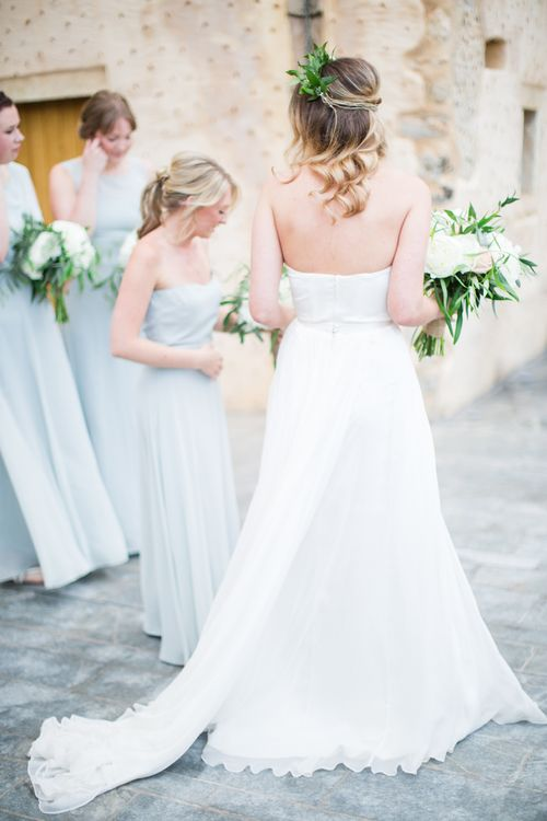 Bride in BHLDN Wedding Dress   Bridesmaids in House of Fraser Dresses   Intimate Outdoor Destination Wedding at Kinsterna Hotel & Spa in Greece   Cecelina Photography