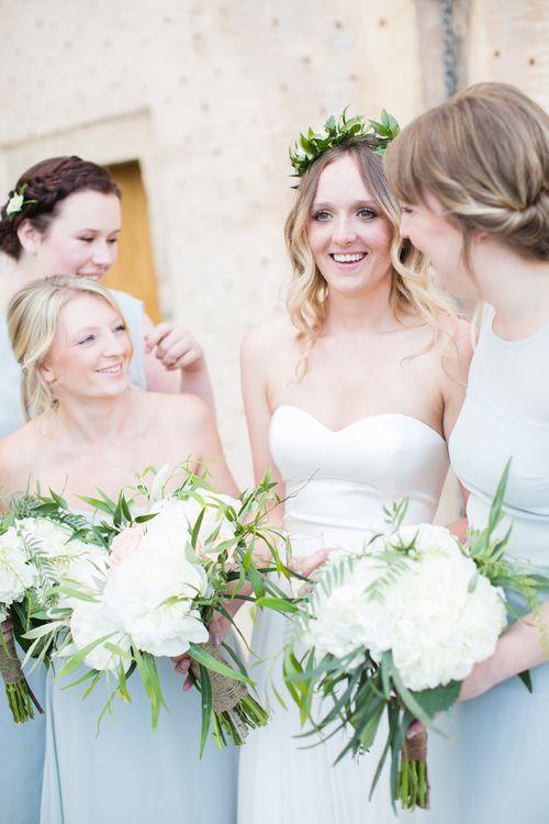 Bride & Bridesmaids   Intimate Outdoor Destination Wedding at Kinsterna Hotel & Spa in Greece   Cecelina Photography