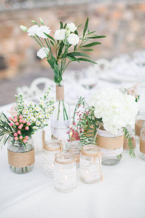 Flower Stems in Jars & Vases   Wedding Decor   Intimate Outdoor Destination Wedding at Kinsterna Hotel & Spa in Greece   Cecelina Photography