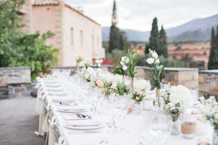 Table Scape   Intimate Outdoor Destination Wedding at Kinsterna Hotel & Spa in Greece   Cecelina Photography