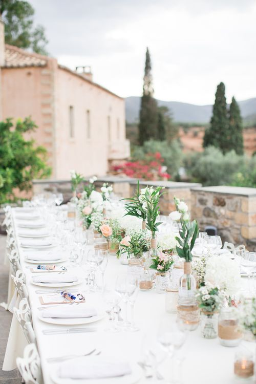 Romantic Tablescape   Intimate Outdoor Destination Wedding at Kinsterna Hotel & Spa in Greece   Cecelina Photography