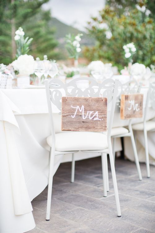 Wooden Chair Back Signs   Intimate Outdoor Destination Wedding at Kinsterna Hotel & Spa in Greece   Cecelina Photography