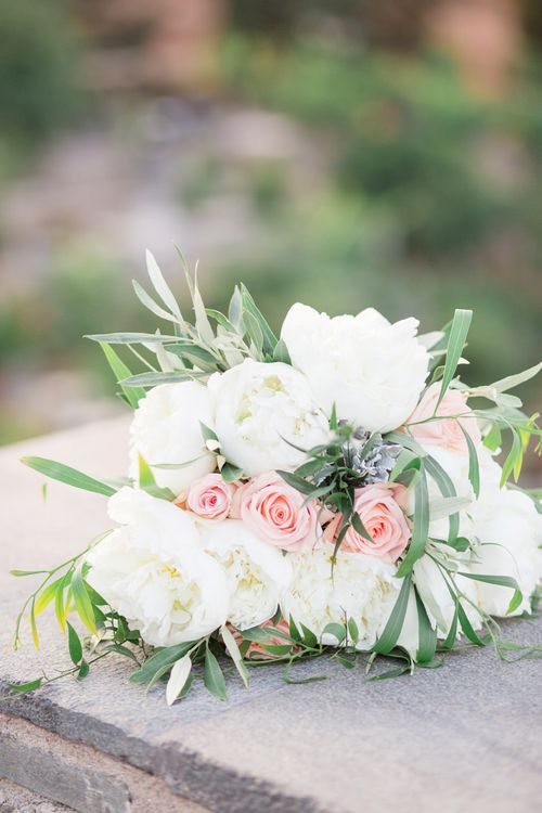 White Peony & Peach Rose Bouquet   Intimate Outdoor Destination Wedding at Kinsterna Hotel & Spa in Greece   Cecelina Photography