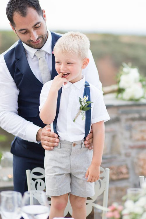 Groom in Ted Baker Navy Suit   Page Boy in Shiorts & Braces   Intimate Outdoor Destination Wedding at Kinsterna Hotel & Spa in Greece   Cecelina Photography