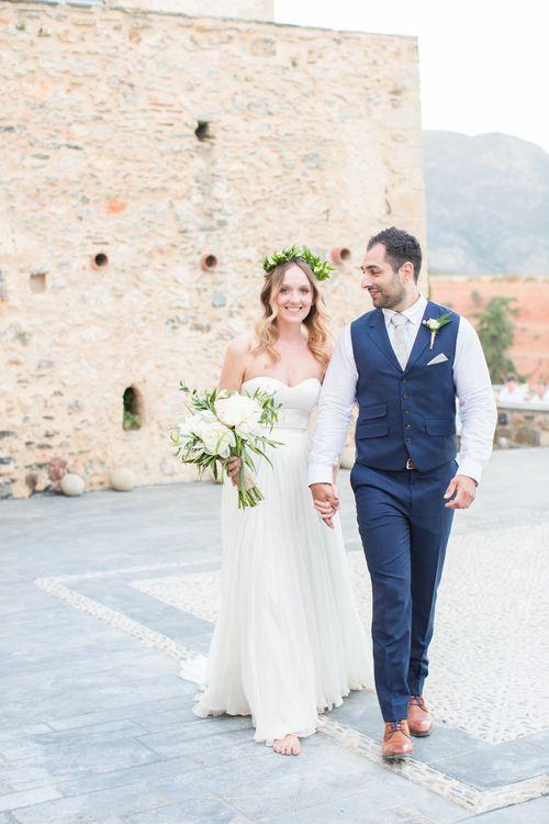 Bride in BHLDN Wedding Dress   Groom in Blue Ted Baker Suit   Kinsterna Hotel & Spa in Greece   Cecelina Photography