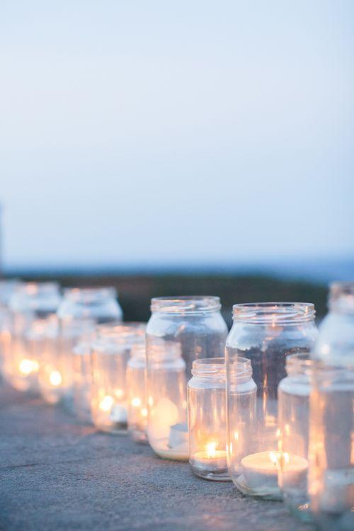Tea Lights in Jars   Wedding Decor   Intimate Outdoor Destination Wedding at Kinsterna Hotel & Spa in Greece   Cecelina Photography