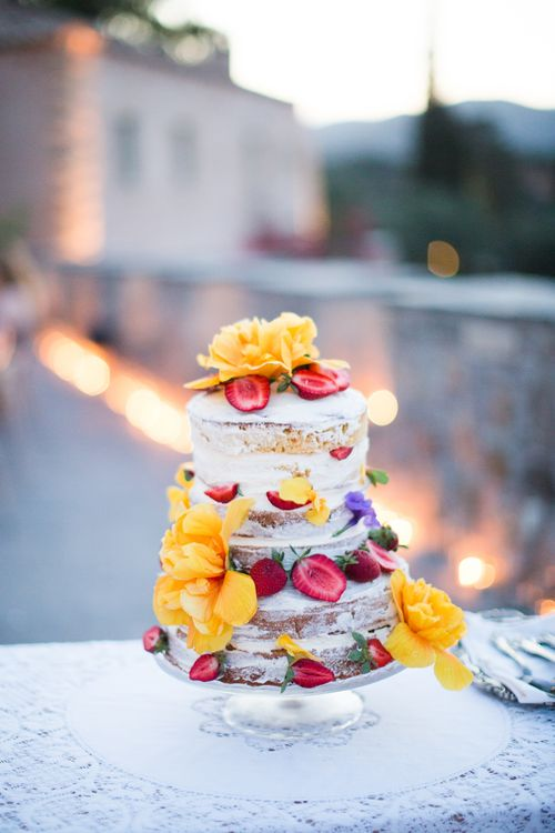 Semi Naked Wedding Cake Decorated with Flowers & Fruits   Intimate Outdoor Destination Wedding at Kinsterna Hotel & Spa in Greece   Cecelina Photography