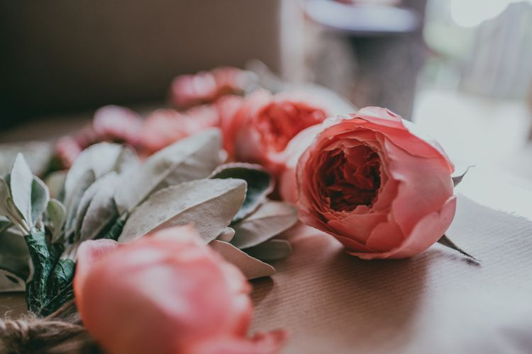 Wedding Flowers | Coral Wedding Cake with Peony Decor | Bride in Anna Campbell Gown from Coco & Kate Boutique | Groom in Next Wool Suit | Rustic Barn Pink Summer Wedding at Nancarrow Farm in Cornwall | Ross Talling Photography