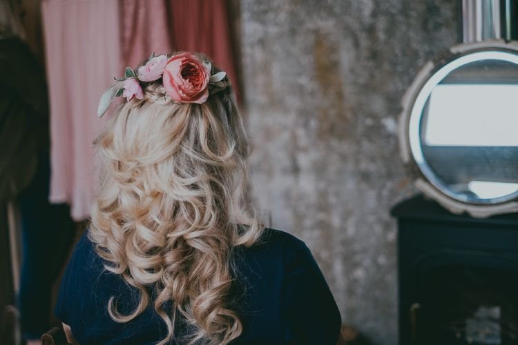 Curly Bridal Up Do with Fresh Flowers | Coral Wedding Cake with Peony Decor | Bride in Anna Campbell Gown from Coco & Kate Boutique | Groom in Next Wool Suit | Rustic Barn Pink Summer Wedding at Nancarrow Farm in Cornwall | Ross Talling Photography