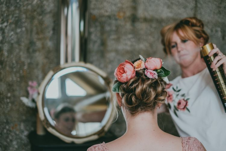 Bridal Up Do with Fresh Flowers | Coral Wedding Cake with Peony Decor | Bride in Anna Campbell Gown from Coco & Kate Boutique | Groom in Next Wool Suit | Rustic Barn Pink Summer Wedding at Nancarrow Farm in Cornwall | Ross Talling Photography