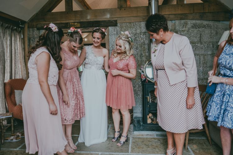 Bridal Party | Coral Wedding Cake with Peony Decor | Bride in Anna Campbell Gown from Coco & Kate Boutique | Groom in Next Wool Suit | Rustic Barn Pink Summer Wedding at Nancarrow Farm in Cornwall | Ross Talling Photography
