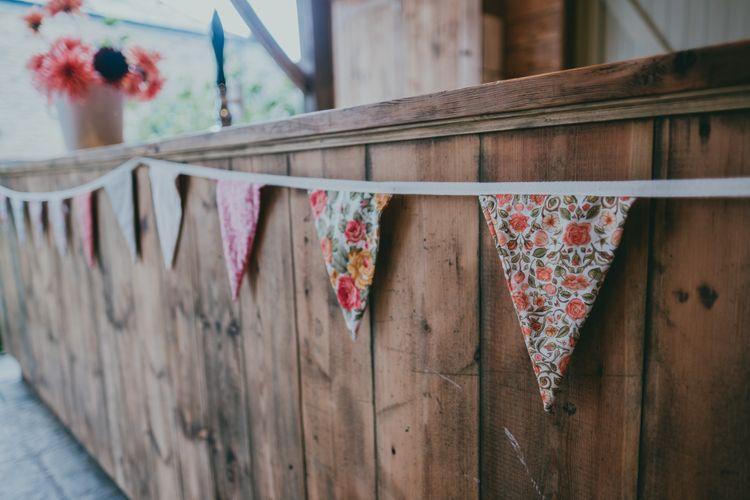 DIY Liberty Print Bunting | Rustic Barn Pink Summer Wedding at Nancarrow Farm in Cornwall | Ross Talling Photography