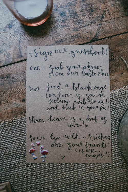 Guest Book Sign | Rustic Barn Pink Summer Wedding at Nancarrow Farm in Cornwall | Ross Talling Photography