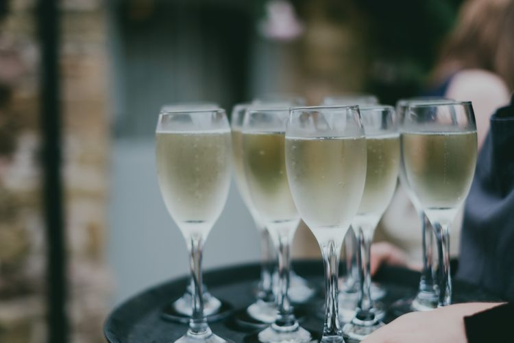 Champagne | Rustic Barn Pink Summer Wedding at Nancarrow Farm in Cornwall | Ross Talling Photography