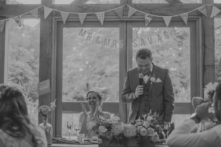 Speeches | Bride in Anna Campbell Gown from Coco & Kate Boutique | Groom in Next Wool Suit | Rustic Barn Pink Summer Wedding at Nancarrow Farm in Cornwall | Ross Talling Photography