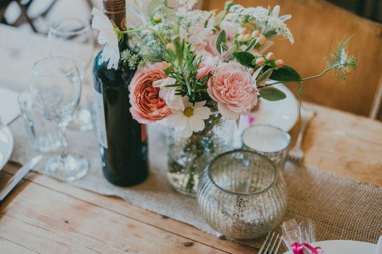 Wedding Flowers | Rustic Barn Pink Summer Wedding at Nancarrow Farm in Cornwall | Ross Talling Photography