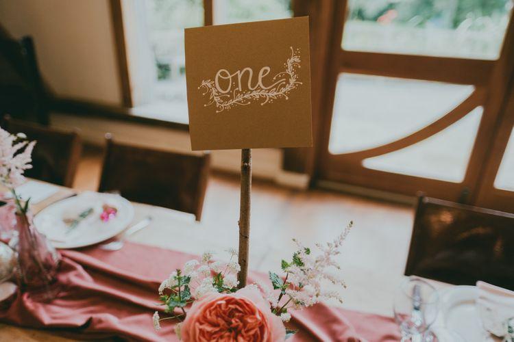 Table Name Card | Rustic Barn Pink Summer Wedding at Nancarrow Farm in Cornwall | Ross Talling Photography
