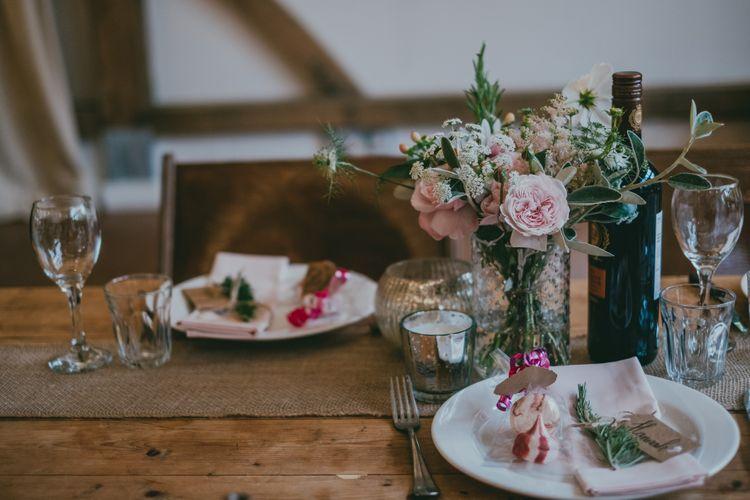 Place Setting Wedding Decor | Rustic Barn Pink Summer Wedding at Nancarrow Farm in Cornwall | Ross Talling Photography