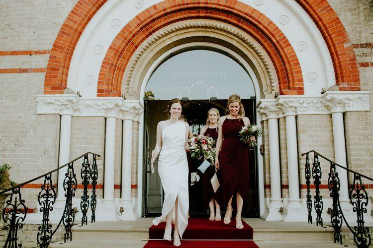 Bride & Bridesmaids in Burgundy Shona Joy Dresses | Petersham Nurseries Botanical Wedding | Irene Yap Photography