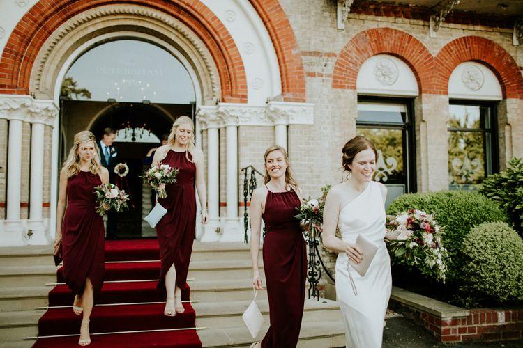 Bride & Bridesmaids in Burgundy Dresses | Bride & Groom | Petersham Nurseries Botanical Wedding | Irene Yap Photography