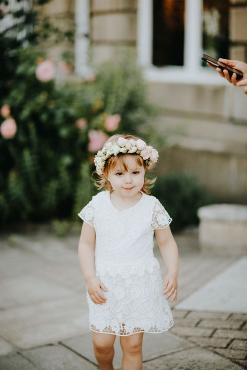 Flower Girl in White Lace Dress | Petersham Nurseries Botanical Wedding | Irene Yap Photography