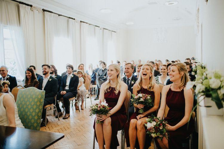Bridesmaids in Shona Joy Burgundy Dresses | York House Wedding Ceremony | Petersham Nurseries Botanical Wedding | Irene Yap Photography