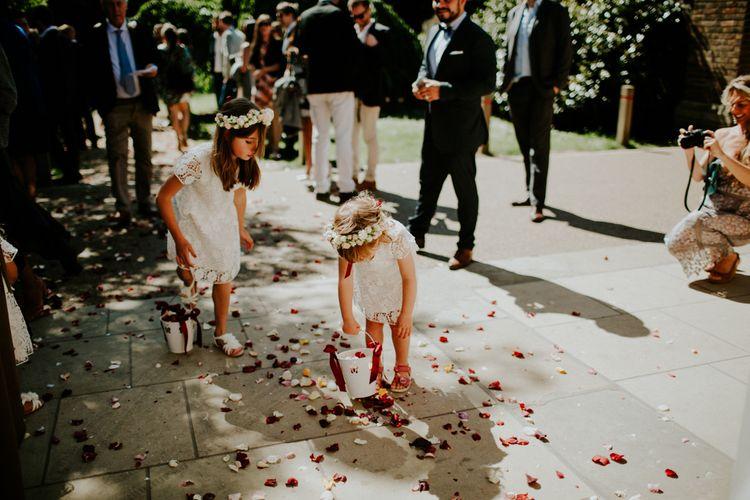 Flower Girls with Flower Crowns | Petersham Nurseries Botanical Wedding | Irene Yap Photography