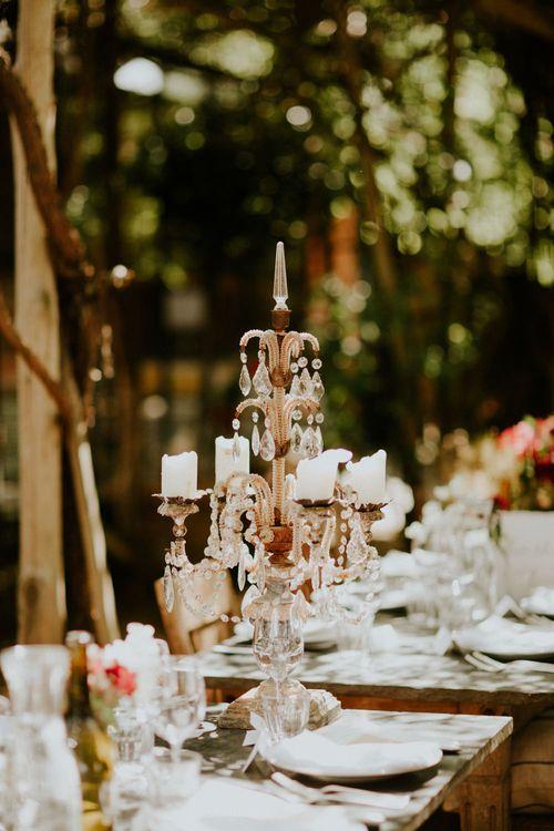 Candelabra Wedding Decor | Petersham Nurseries Botanical Wedding | Irene Yap Photography