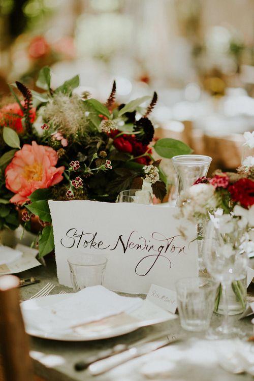 Calligraphy Table Names | Petersham Nurseries Botanical Wedding | Irene Yap Photography
