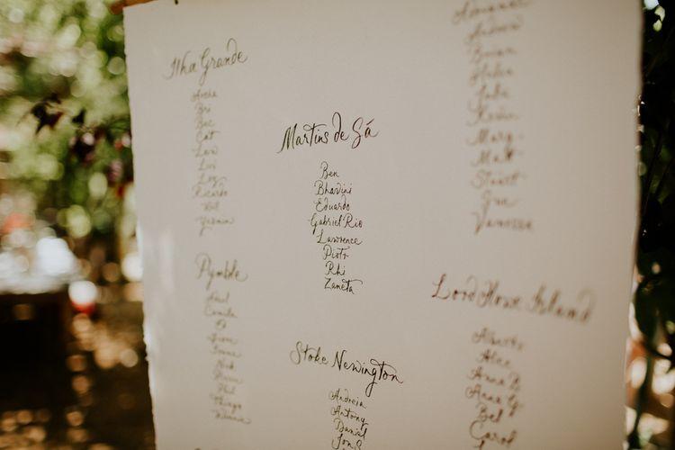 Calligraphy Seating Chart | Petersham Nurseries Botanical Wedding | Irene Yap Photography